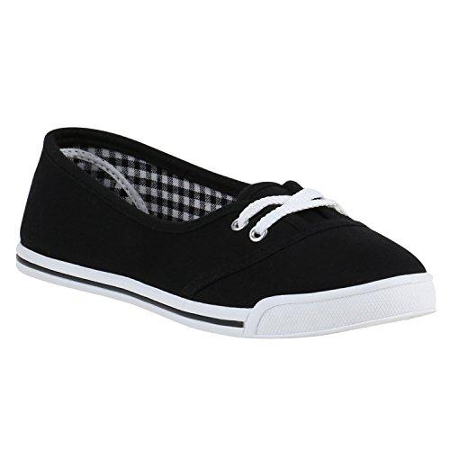 Stiefelparadies Bequeme Damen Slipper Slip-Ons Sportliche Schuhe Flats Stoffschuhe Prints Glitzer Freizeitschuhe Flandell Schwarz Schnürer