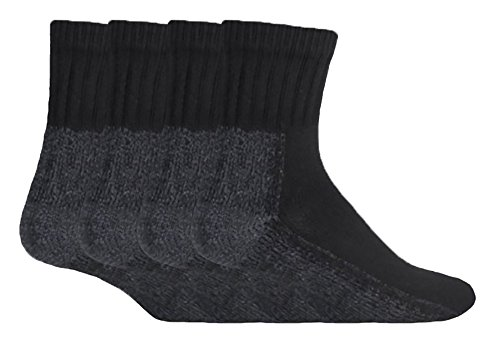 Workforce - Mens Breathable Ankle Trainer Work Socks For Steel Toe Boots (4 or 12 Pack) (4 pack, (Steel Toe Mens Ankle Boot)