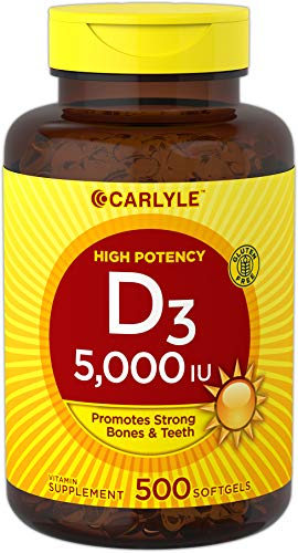 Carlyle Vitamin D3 (5000 IU) Huge Size 500 Softgel Supplement – Non-GMO, Gluten Free