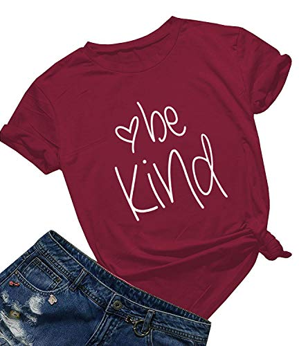 Be Kind T Shirts Women Cute Graphic Blessed Shirt Funny Inspirational Teacher Fall Tees Tops (Wine Red Crew, XL)