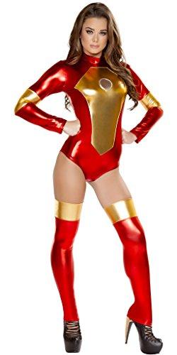 Musotica Iron Maiden Girl Halloween Costume - Red/Gold - (Iron Maiden Halloween)