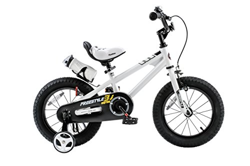 Royalbaby RB12B-6W Freestyle Kids Bike, Boy's Bikes and Girl's Bikes with Training Wheels, Gifts for Children, 12 inch Wheels, White