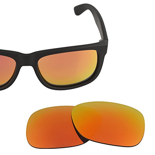 LenzFlip Replacement Lenses for Ray Ban Justin RB 4165 (54mm) - Gray Polarized with Red Mirror - Polarized Brand Sunglasses Names