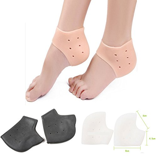 [AP Shop, 2Pcs Silicone Moisturizing Gel Heel Socks Like Cracked Foot Skin Care Protector Feet Massager Foot Pain Relief.(White] (3 Ninjas Kick Back Costume)
