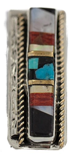 Mop Native ($190Tag Silver Navajo Inlaid Natural Spiny Oyster Turquoise MOP Onyx Native American Nickel Money Clip)