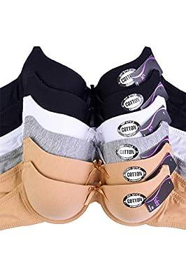 Women's Basic Plain Bras (Packs of 6) - Various Styles (BR4260P2, 40C)