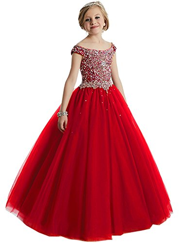 HuaMei Girls Princess Tulle Beaded Straps Ball Gowns Flower Girl Pageant Dresses 10 US Red