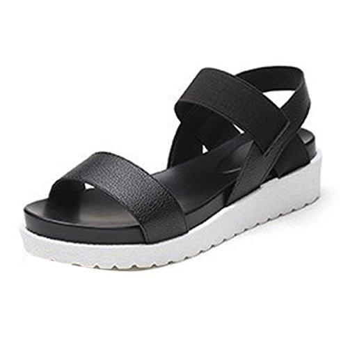 Ansenesna Sandalen Damen Sommer Leder Weiss Blockabsatz Offen Elegant Sommerschuhe Mädchen Comfort Schuhe Schwarz Silber Weiß Schwarz