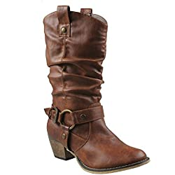 WestCoast Women's Mid Calf Cowboy Boots Distressed Slouchy O-Ring Studded Pull on Block Heel Riding Boots Tan 10