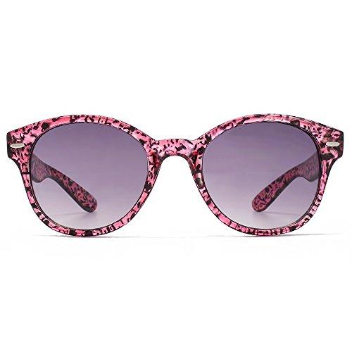 M:UK Soho en rose moucheté, les lunettes de soleil ronde BCBG MUK147833 Gradient Grey