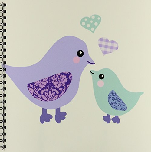 3dRose db_120281_1 Cute Purple Mom Bird and Blue Baby Chick Boy Kawaii Birds Mother and Child Son for Mothers Day Drawing Book, 8 by (Mother Chicks)