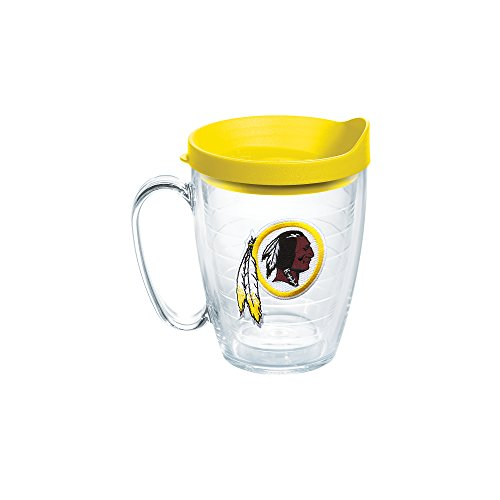 Tervis 1062499 NFL Washington Redskins Primary Logo Tumbler with Emblem and Yellow Lid 16oz Mug, Clear