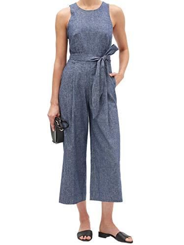 Banana Republic Womens Linen Blend Tie Waist Sleeveless Capri Length Jumpsuit Chambray Blue (US: 8)
