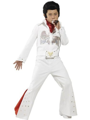 Smiffy's Children's Elvis Costume, Jumpsuit & Scarf, Ages 7-9, Colour: (Jailhouse Jumpsuit Costumes)