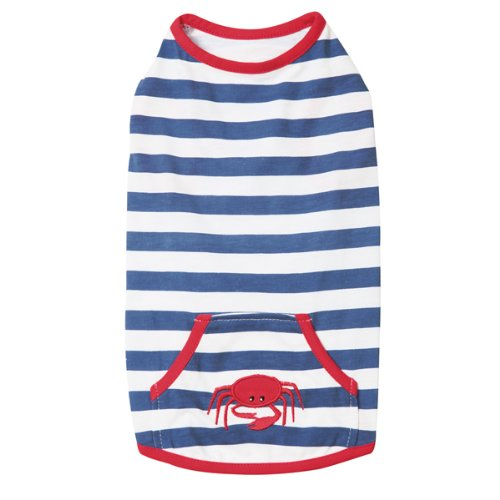 Zack and Zoey Polyester/Cotton Beachcomber Dog Tank Top, XX-Small, Nautical Blue, My Pet Supplies