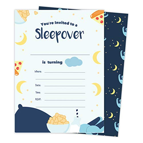 Boys Sleepover 2 Happy Birthday Invitations Invite Cards (25 Count) With Envelopes & Seal Stickers Vinyl Boys Kids Party (25ct)