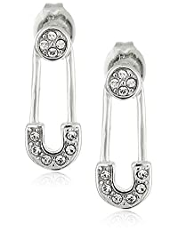 Rhodium Plated Sterling Silver Pave White Swarovski Crystal Safety Pin Stud Earrings