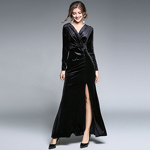 ZHUDJ Señoras _ Womens Vestidos Invierno Fina Hendidura Piso Plegable Hacia Abajo black