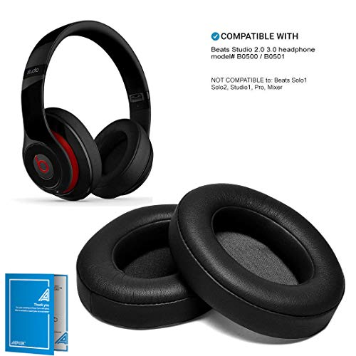Black Replacement Earpads, AGPTEK 2 Pieces Foam Ear Pad Cushion Compatible with Beats Studio 2.0 Wired/Wireless B0500 B0501 Headphone & Beats Studio 3.0