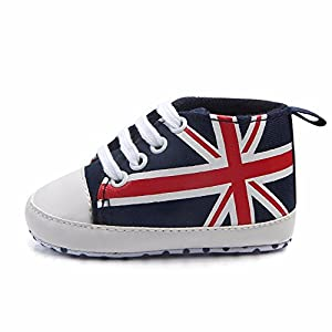 0~12 Month, 2019 Hot Infant Canvas Shoes Baby UK Flag Print Anti-Slip Soft Shoes Sneaker Lace-Up Baby Shoes