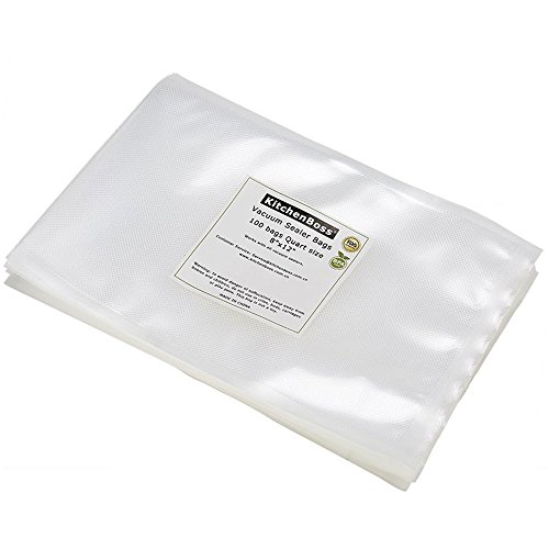 Vacuum Sealer Bags 100 Quart Size 8'x12'. KitchenBoss Commercial Grade for Food Vacuum Storage Bags for Food Saver and Sous Vide