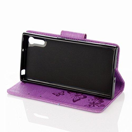 Yiizy Sony Xperia XZ F8332 Custodia Cover, Farfalla Fiore Design Sottile Flip Portafoglio PU Pelle Cuoio Copertura Shell Case Slot Schede Cavalletto Stile Libro Bumper Protettivo Borsa (Porpora)