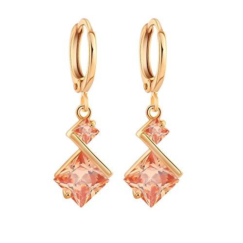 (YAZILIND 18K Gold Plated Cubic Zirconia Inlay Charming Hoop Dangle Earrings for Women Gift)