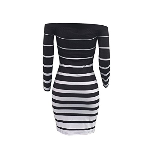 Hip Paquet t te longues Encolure c de nuit portefeuille Noir imprim Bo Vague manches Femmes Robe Sexy Stripes v6n0xOq