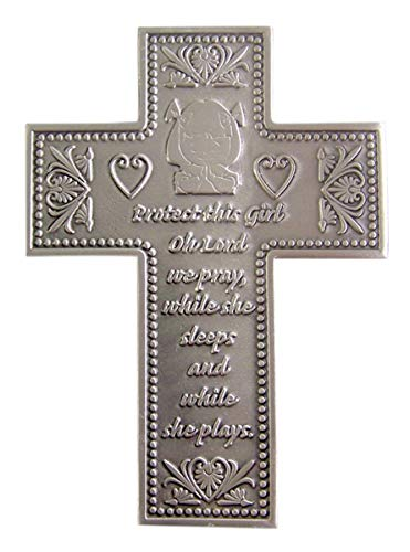 Protect This Girl Pewter Wall Cross for First Communion or Baptism 5 3/8 Inch