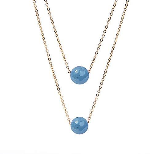 BALIBALI Semi Precious Stone Beaded Choker Necklace 14K Gold Plated Natural Stone Double Strand Necklace Layered Short Necklaces (Throat Gemstone Chakra)