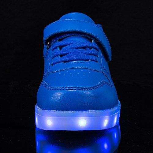 FLARUT Niños Zapatos con USB Carga Light Up Zapatos Junior Casuales Led Luminoso Zapatillas Azul