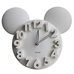 Meidi Clock Modern Design Mickey Mouse Big Digit 3D Wall Clock Home Decor Decoration - White