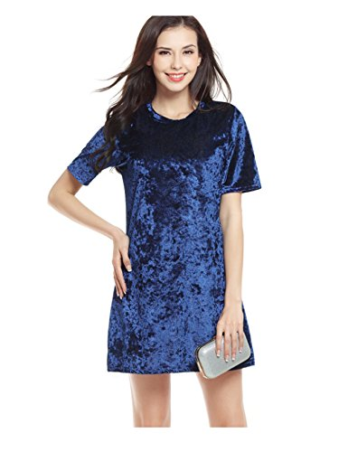Neck Sleeve Short Round Bestgift Solid Women's Short Blue Dress Royal Color nqRBST