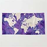 Huisfa Purple Watercolor and Light Brown World map with outilined Countries Beach Towel 31.5''x51.2''