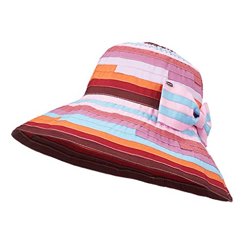 Striped Dome - QYLOZ Sun hat Dome Multicolor Striped Outdoor Cap Collapsible Breathable Visor Adjustable Sun Protection Cap with Bow (Color : A)