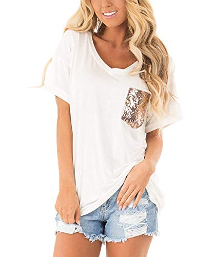 Barblure Womens Summer Short Sleeve V Neck with Sequin Pocket T Shirts Casual Blouses Tunics Chic Tee Tops White