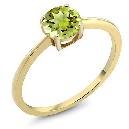 - Gem Stone King 10K Yellow Gold 0.85 Ct Round Green Peridot Gold Solitaire Engagement Ring (Size 8)