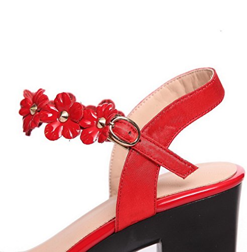 Leather High Sandals Toe Solid Womens Red Patent Heels Buckle Open AllhqFashion Ywpa5