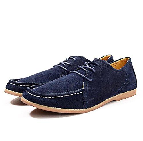 Heart&M helado de corte bajo ocasionales de los hombres zapatos de cuero del ante deep blue