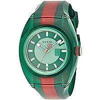 Gucci Sync YA137113 Casual Two-Tone Rubber Men's Watch (Green)