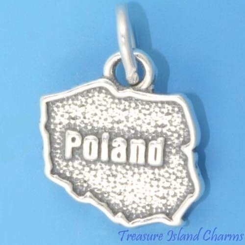 (Poland Country Polish Map 925 Solid Sterling Silver Charm Crafting Key Chain Bracelet Necklace Jewelry Accessories Pendants)