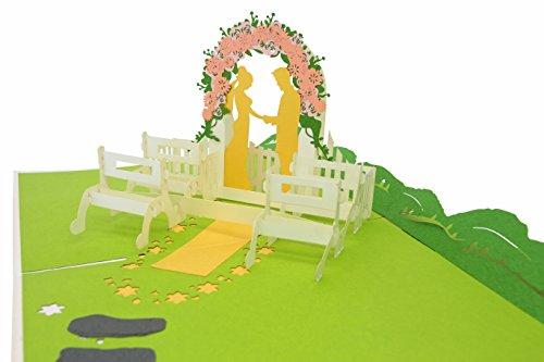PopLife Summer Wedding 3D Pop Up Greeting Card - Wedding Gift, Wedding Invitation, Anniversary Card, Engagement Card, Bridal Shower - Folds Flat for Mailing - Congratulations, Thank You, Birthday Card ()