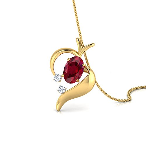 14K Or blanc 0,02ct tw Round-cut-diamond (IJ | SI) et rubis Pendentif