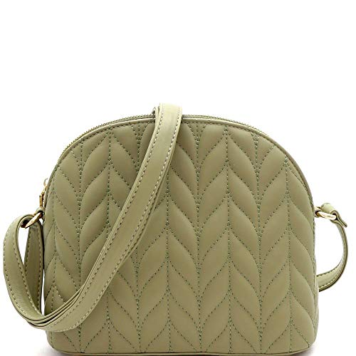 Quilted Dome-Shaped PU Leather Cross Body - Dome Quilted