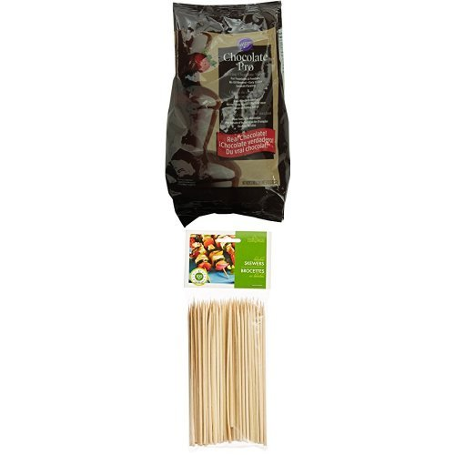 Wilton W2618 Fondue Chocolate Wafers and Fox Run Brands Bamboo Skewers Bundle 2104-2618