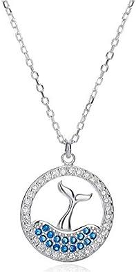 HWADMW Elfo rasga la Cola de Sirena S925 Collar de Plata esterlina Anillo Femenino delfín pez Grande Cadena de clavícula del Bosque de Begonia