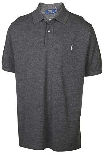 Polo RL Men's Big & Tall Mesh Pony Polo Shirt-Black Heather-XLT