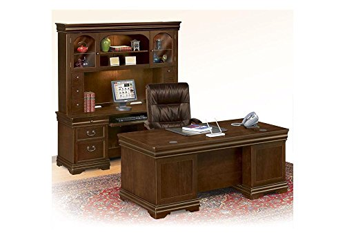 Traditional Executive Office Set with Chair Chestnut Leather/Tuscany Frame Chair/Deep Walnut Desk and Credenza w/Hutch Weight: 769 lbs.