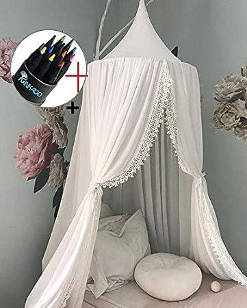 Ciel de lit Moustiquaire de lit en coton pour enfant et Princesse anti-moustique de Tente de jeu Dé coration chambre fille Ginkago