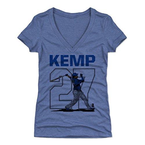 500 LEVEL Matt Kemp Women's V-Neck Shirt Large Tri Royal - Los Angeles Baseball Women's Apparel - Matt Kemp Outline B